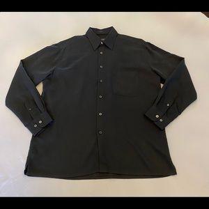 BUGATCHI Men's Long Sleeve Button Dress Shirt, M